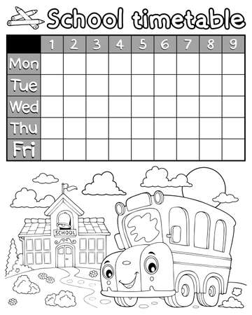 Coloring book timetable topic 8 - eps10 vector illustration.