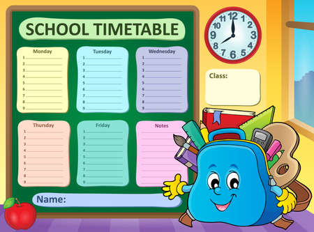 Weekly school timetable template 5 - eps10 vector illustration.
