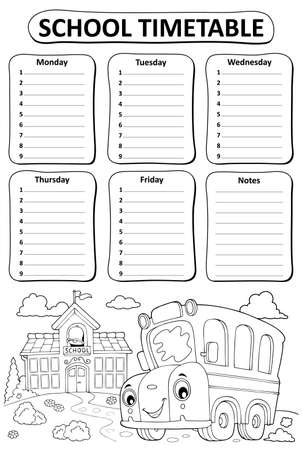 Black and white school timetable topic 3 - eps10 vector illustration. Illustration