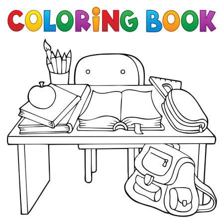 Coloring book school desk theme 1 - eps10 vector illustration.
