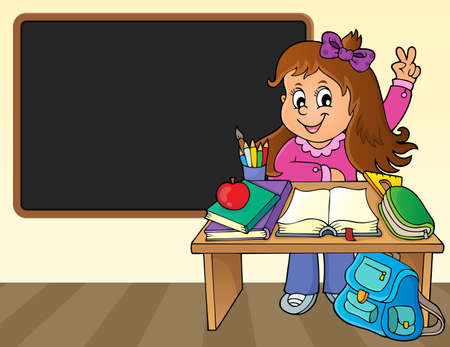 Girl behind school desk theme image 2 - eps10 vector illustration. Çizim