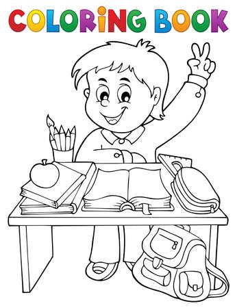 Coloring book boy behind school desk - eps10 vector illustration. Illustration