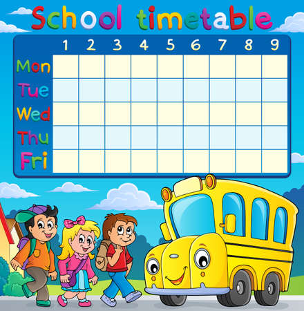 School timetable with children and bus - eps10 vector illustration.