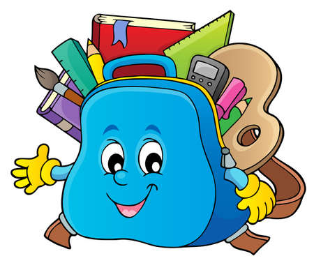 Happy schoolbag topic image 1 - eps10 vector illustration.