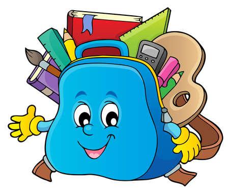 Happy schoolbag topic image 1 - eps10 vector illustration.