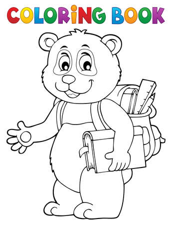 Coloring book school panda theme 1 - eps10 vector illustration.