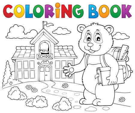 Coloring book school panda theme 2 - eps10 vector illustration.