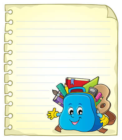 Notebook page with schoolbag 2 - eps10 vector illustration. Illustration