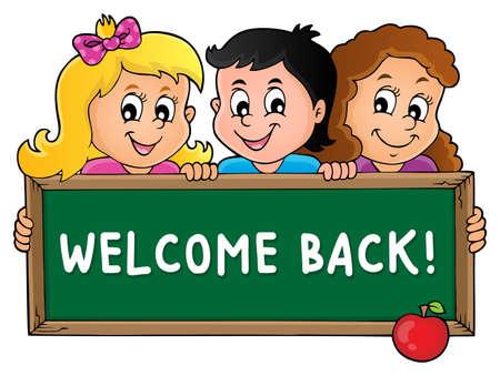 Children holding schoolboard theme 3 - eps10 vector illustration. Illustration