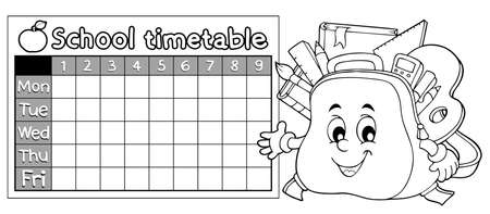 Coloring book timetable topic 9 - eps10 vector illustration. Illustration