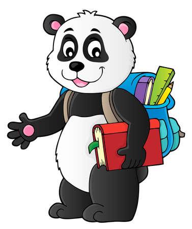 School panda theme image 1 - eps10 vector illustration. Banque d'images - 106053253