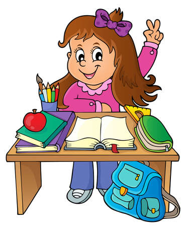 Girl behind school desk theme image 1 - eps10 vector illustration. Illustration