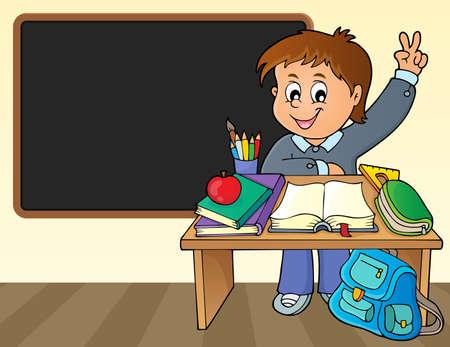 Boy behind school desk theme image 2 - eps10 vector illustration. Illustration