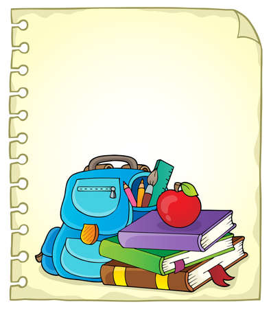Notepad page with school equipment 1 - eps10 vector illustration.