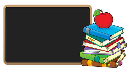 Stack of books and blackboard - eps10 vector illustration. Illustration
