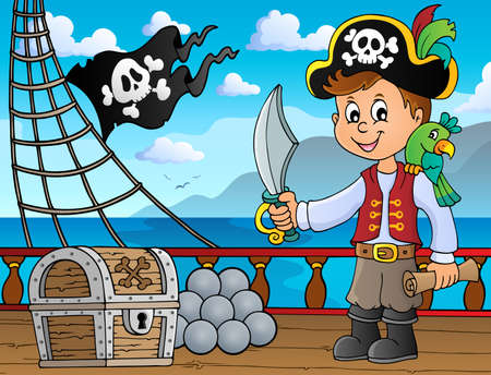 Pirate boy topic image 4 - eps10 vector illustration.