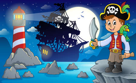 Pirate boy topic image 3 - eps10 vector illustration.