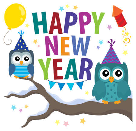 Happy New Year theme with owls - eps10 vector illustration.