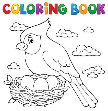 Coloring book bird topic 3 - eps10 vector illustration.