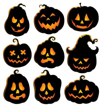 Pumpkin silhouettes theme set 4 - eps10 vector illustration. Illustration