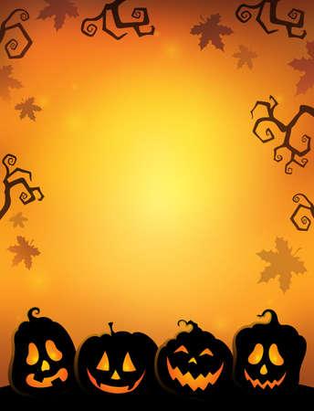 Pumpkin silhouettes thematics image 2 - eps10 vector illustration. Illustration