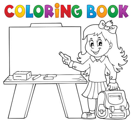 Coloring book happy pupil girl theme 4 - eps10 vector illustration.