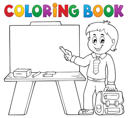Coloring book happy pupil boy theme 4 - eps10 vector illustration.