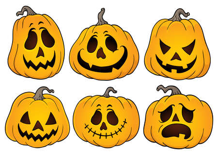 Halloween pumpkins theme set 3 - eps10 vector illustration.