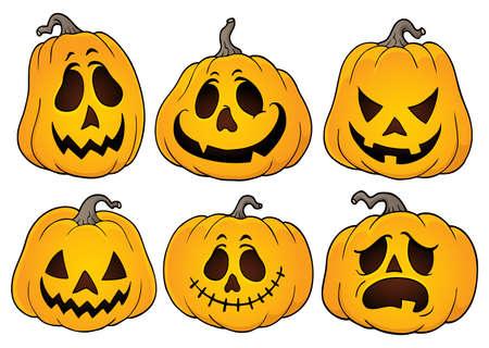 Jeu de thème de citrouilles d'Halloween 3 - illustration vectorielle eps10.