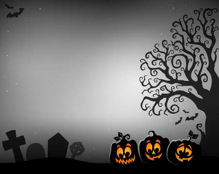 Halloween tree half silhouette theme 4 - eps10 vector illustration. Illustration