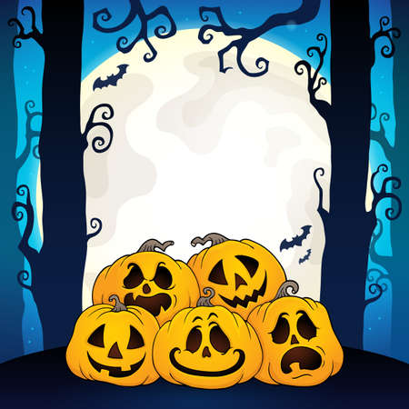 Pile of Halloween pumpkins theme 3 - eps10 vector illustration.