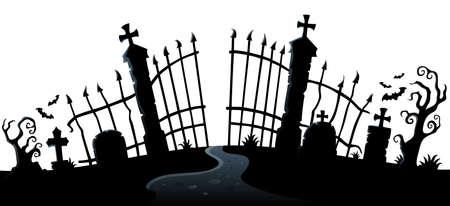 Cemetery gate silhouette theme 2 - eps10 vector illustration. Çizim