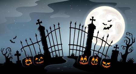 Cemetery gate silhouette theme 4 - eps10 vector illustration.