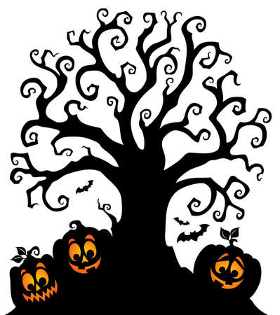 Halloween tree silhouette topic 7 - eps10 vector illustration.