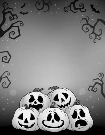 Pile of Halloween pumpkins theme 8 - eps10 vector illustration.