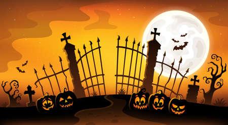 Cemetery gate silhouette theme 5 - eps10 vector illustration.