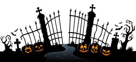 Cemetery gate silhouette theme 3 - eps10 vector illustration.