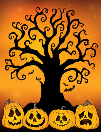 Halloween tree silhouette topic 3 - eps10 vector illustration.