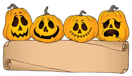 Wide parchment and Halloween pumpkins 4 - eps10 vector illustration.