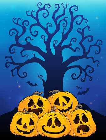 Pile of Halloween pumpkins theme 6 - eps10 vector illustration.