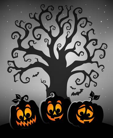 Halloween tree silhouette topic 5 - eps10 vector illustration.