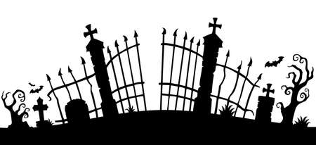 Cemetery gate silhouette theme 1 - eps10 vector illustration.