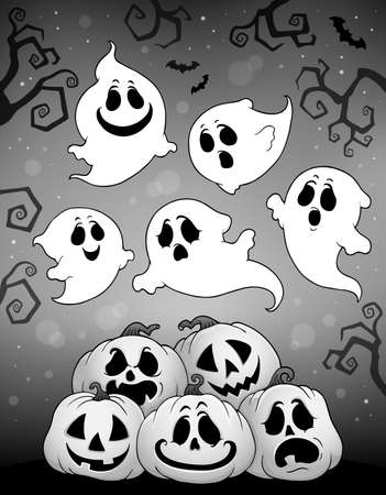 Halloween image with ghosts theme 6 - eps10 vector illustration. Illustration