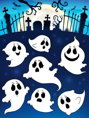 Halloween image with ghosts theme 5 - eps10 vector illustration. Illustration