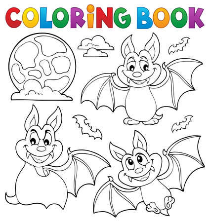 Coloring book bats theme collection 1 - eps10 vector illustration. Illustration