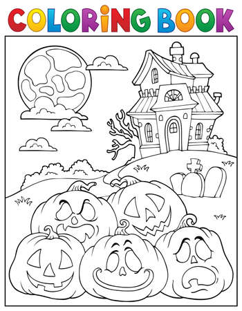 Coloring book Halloween pumpkins pile 2 - eps10 vector illustration.