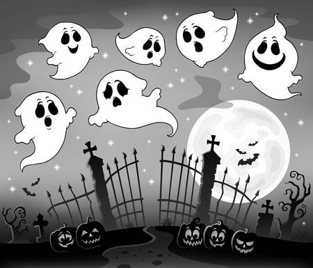 Halloween image with ghosts theme 7 - eps10 vector illustration.