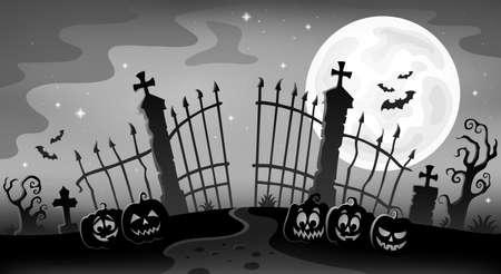 Cemetery gate silhouette theme 9 - eps10 vector illustration.