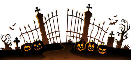 Cemetery gate silhouette theme 6 - eps10 vector illustration.