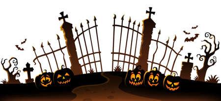 Tema della siluetta del cancello del cimitero 6 - illustrazione di vettore eps10.